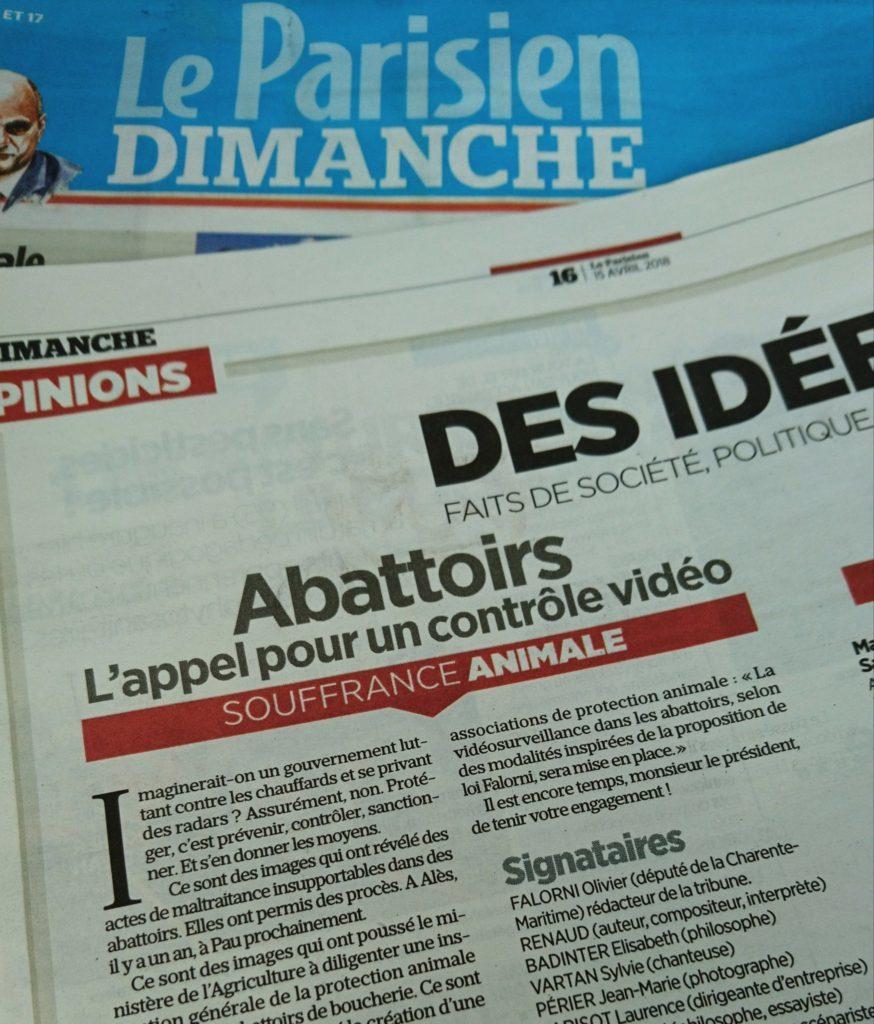 Tribune Le Parisien pour un contrôle vidéo en abattoirs